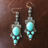 Long Cluster Sterling Campitos Turquoise Earrings Navajo Handmade Signed