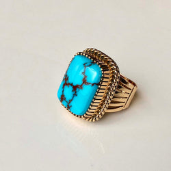 Lets Dance Egyptian Turquoise 14K Gold Ring Handmade Ray Bennett Signed Sz 7.5
