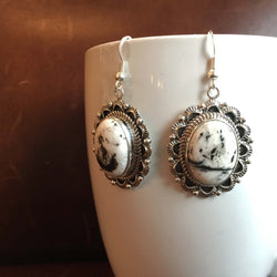 Beautiful Handmade Sterling Silver White Buffalo Oval Earrings Variation 1