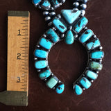 Large Handmade Carico Lake Squash Blossom Naja Necklace Signed Ella Peters