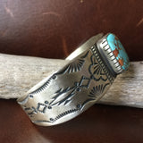 Natural #8 Turquoise Stamped Sterling Silver Bracelet Signed Lorenzo Juan