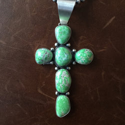 High Grade Carico Lake Turquoise Cross Necklace Sterling Signed Donovan Cadman
