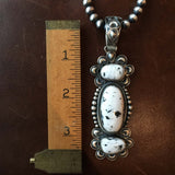 Beautiful Sterling Silver 3-Stone White Buffalo Pendant with Navajo Beads
