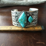 Two Stone Simple Silver Stamp Royston Turquoise Cuff Bracelet Ray Bennet Signed