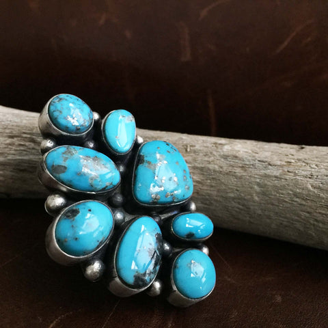 Handmade 8-Stone Assymetric Sterling Silver Ithaca Peaks Turquoise Ring Size 7