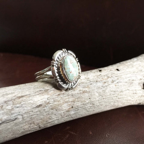 Beautiful Mini Sterling Silver Single Stone Dry Creek Turquoise Ring Size 7.75