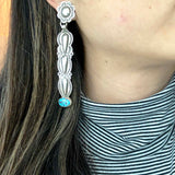 Flower Post Statement Long Sterling Stamped Earrings Spiderweb Kingman