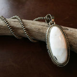 Handmade Sterling Silver Long Oval White Buffalo Pendant with Navajo Beads