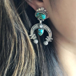 Navajo Handmade Sterling Silver Apache Turquoise Circular Dangle Earrings