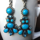 Elegant Gala Earrings Blue Topaz and Sleeping Beauty Handmade By Leo Feeney
