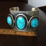 Kingman Birdseye Waterweb 3 Stone Cuff Bracelet for Men Heavy Stamp Martinez