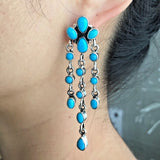 Natural Sleeping Beauty Turquoise Waterfall Dangle Earrings Signed Emma Lincoln