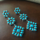 Natural Sleeping Beauty Turquoise Dangle Earrings Navajo D. Ashley Signed
