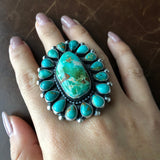 Medium Handmade Sterling Silver Clustered Carico Lake Turquoise Ring Size 8