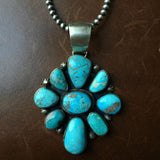 "Handmade Carico Lake Sterling Pendant with 20"" 4mm Navajo Beads"