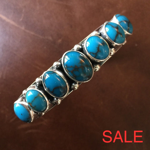 7 Cluster Egyptian Turquoise Bangle Bracelet Signed Renowned Mark Yazzie Bracelets