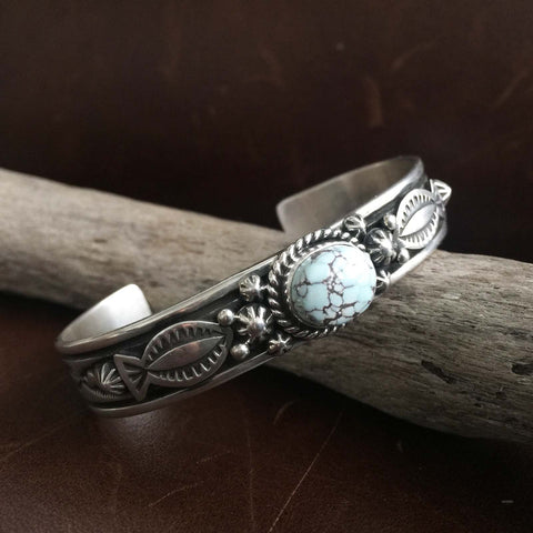 Beautiful Handmade Sterling Silver Mini Dry Creek Turquoise Bangle Bracelet