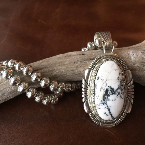 Beautiful Sterling Silver Large White Buffalo Pendant with Large Navajo Beads