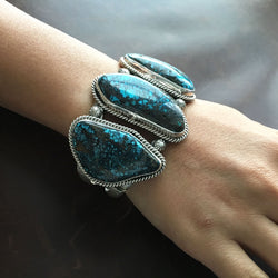Beautiful Handmade 3 Stone Chinese Hubei Turquoise Sterling Silver Bracelet