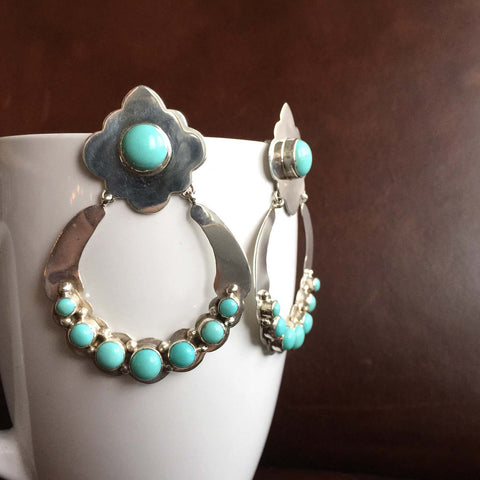 Beautiful Navajo Handmade Sterling Silver Mini Cluster Campitos Earrings