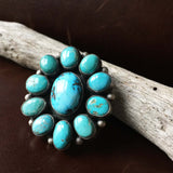 Beautiful Handmade Sterling Carico Lake Turquoise Flower Cluster Ring Size 8