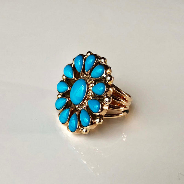 Robins Blue Firework 14K Gold Sleeping Beauty Ring Flower Cluster Signed Size 7