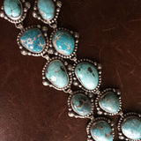 Handmade Sterling Silver Blue Carico Lake Turquoise Medium Cluster Necklace