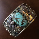 Beautiful Handmade Dry Creek Turquoise with Silver Flowers Signed Marita Benally