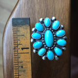 Handmade Robins Egg Blue Campitos Cluster Flower Ring Signed Ernest Begay Size 7
