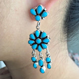 Sleeping Beauty Turquoise Chandelier Cluster Dangle Earrings Signed Emma Lincoln