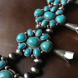 Sky Blue Campitos Turquoise Squash Blossom Necklace Signed Bobby Johnson