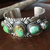 Beautiful Handmade 5 Stone Carico Lake Turquoise Sterling Silver Bracelet Cuff