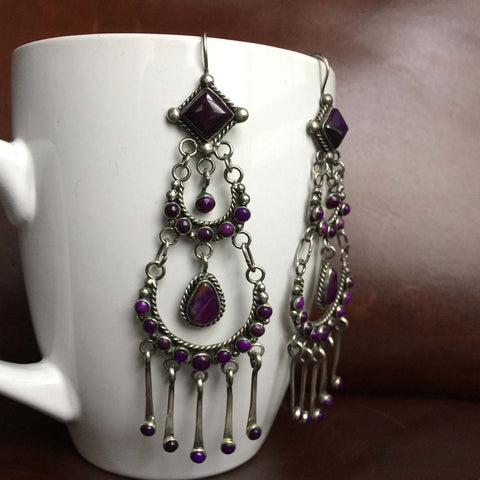 Deep Purple Mini Clustered Sugilite Sterling Silver Long Dangle Luxury Earrings