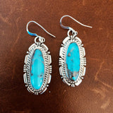 Handmade Stamped Sterling Silver Blue Morenci with Pyrite Long Oval Earrings