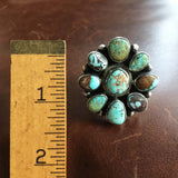 Beautiful Super Rare Light Blue Royston Turquoise Small Flower Ring Size 7