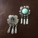 Flower Sterling Earrings Carico Lake Green Turquoise with Tiny Dangle Signed