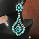 Petit Mini Cluster Earrings Sleeping Beauty Turquoise Deep Blue Signed