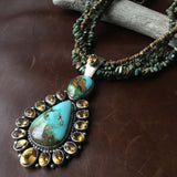 Statement Royston Turquoise Five Strand Necklace with Citrine Pendant Signed