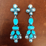 Beautiful Clustered Morenci Turquoise with Pyrite Sterling Dangle Earrings