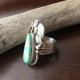 Small Handmade Seagreen Carico Lake Sterling Silver Overlay Ring Size 7