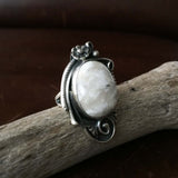 Beautiful Handmade Sterling Single Stone Natural Oval White Buffalo Ring Size 5