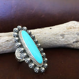 Classic Handmade Stamped Sterling Silver Long Oval Blue Campitos Ring Size 7