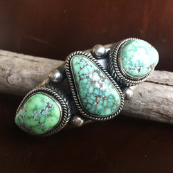 Beautiful Handmade Sterling Silver 3-Stone Carico Lake Turquoise Bracelet