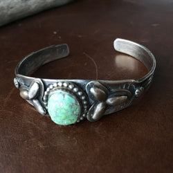 Simple Single Stone Carico Lake Turquoise Stamped Sterling Overlay Bracelet