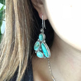 Birds of Paradise Royston Turquoise Earrings Signed Donovan Cadman