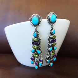 Beautiful Sleeping Beauty Turquoise with Green and Purple Topaz Dangle Earrings