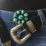 Handmade Carico Lake Turquoise Sterling Denim Brown Metal Tack Button