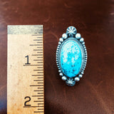 Beautiful Sterling Single Stone Blue Morenci Turquoise with Pyrite Ring Size 6