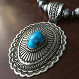Sterling Silver Egyptian Turquoise Pendant with 10mm Navajo Beads