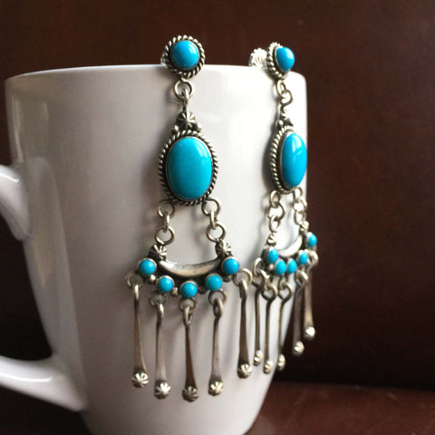 Diamonds of Neptune Sleeping Beauty Turquoise Earrings Signed Carlos Santa Fe